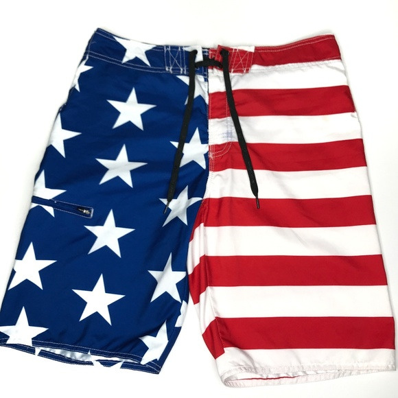 Hang Ten Other - Hang Ten American Flag Swim Board Shorts A170441